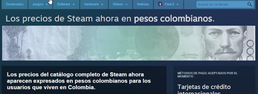 Steam habilita compras en pesoscolombianos