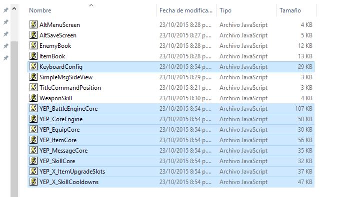 Añadir plugins de los DLC a proyectos de RPG MakerMV